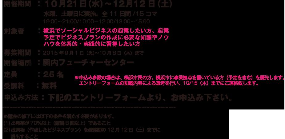 開催期間:10 月21日(水)〜12月12日(土)/対象者:ソーシャルビジネスを起業したい方,起業予定の方/募集期間 :2015年9月1日(火)〜10月8日(木)まで/開催場所 :関内フューチャーセンター/定員:25名/受講料:無料/申込み方法:下記のエントリーフォームより、お申込み下さい。